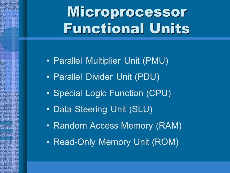 Microprocessor Functional Units Parallel Multiplier Unit (PMU) Parallel Divider Unit (PDU) Special Logic Function (CPU) Data Steering Unit (SLU) Rando
