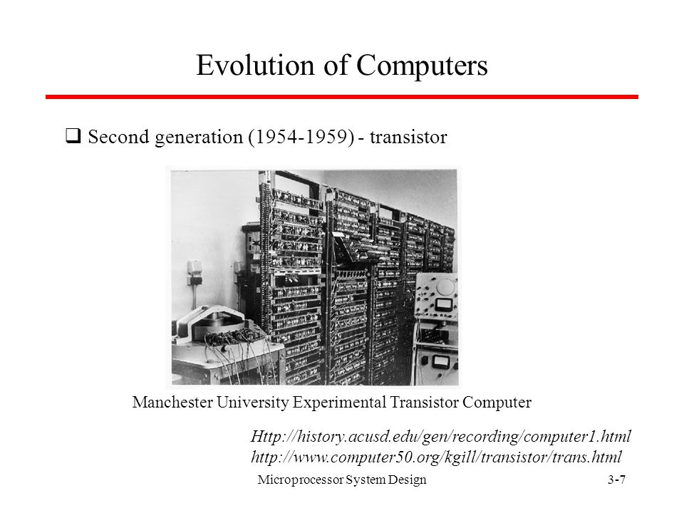 Microprocessor System Design3-6 Evolution of Computers Http://history.acusd.edu/gen/recording/computer1.html http://www.cs.virginia.edu/brochure/museum.html http://www.columbia.edu/acis/history/650.html  First generation (1939-1954) - vacuum tube IBM 650, 1954
