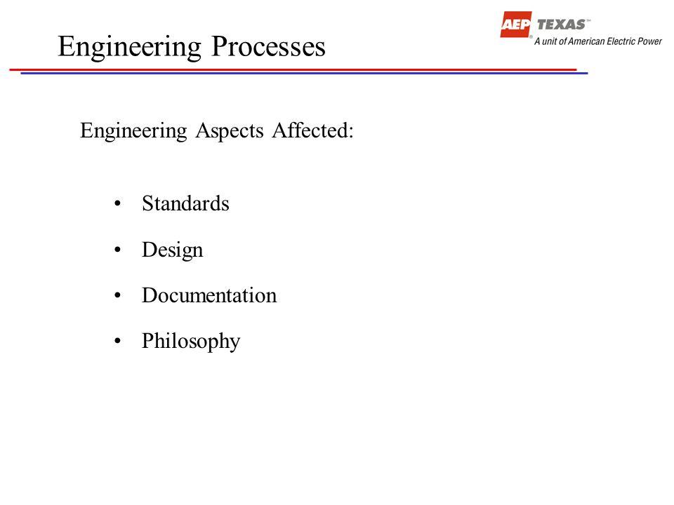 Engineering Processes Engineering Aspects Affected: Standards Design Documentation Philosophy