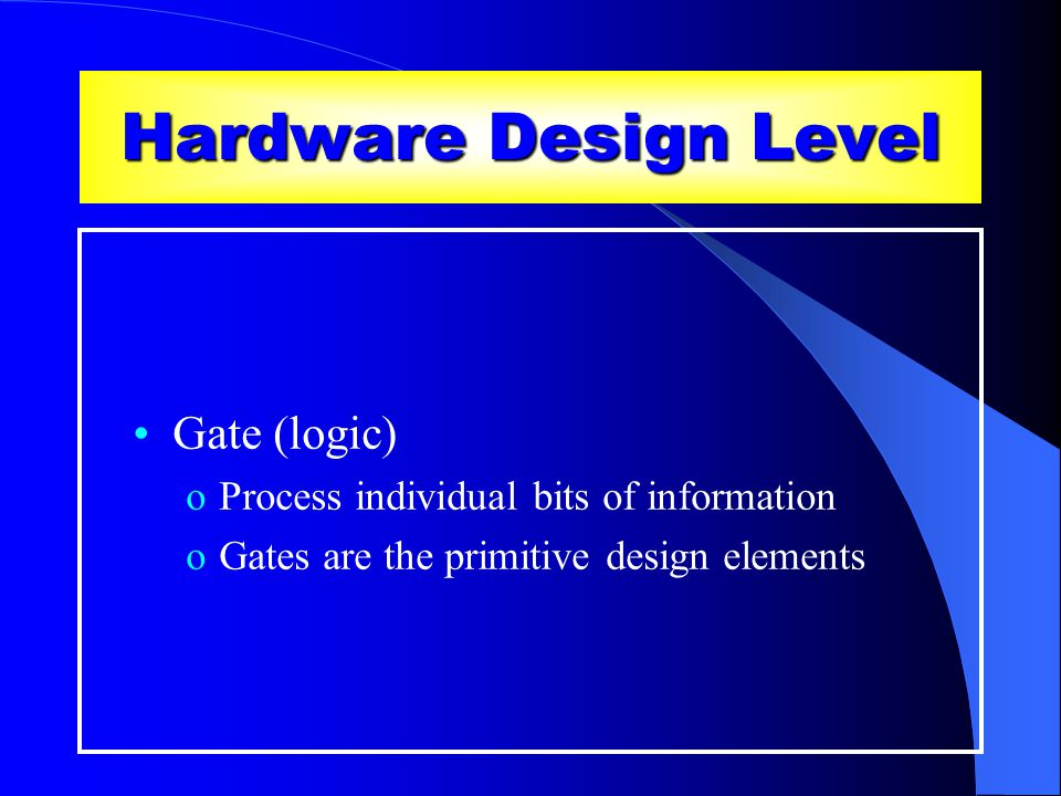 Hardware Design Level Gate (logic) oProcess individual bits of information oGates are the primitive design elements