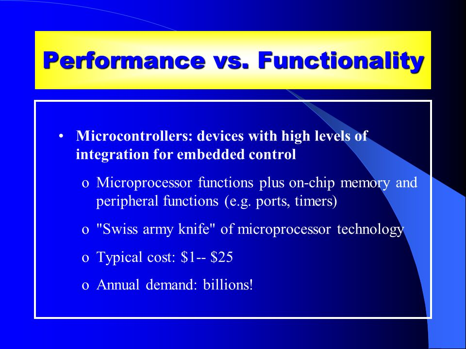 Performance vs.