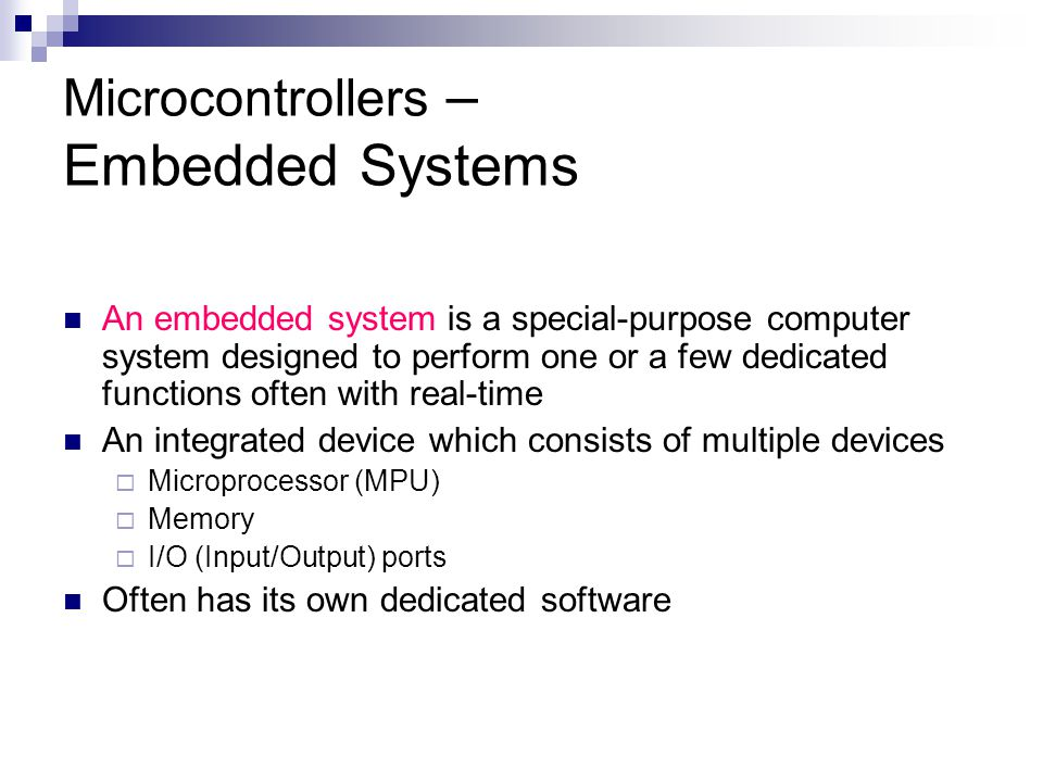 Microprocessor-based Systems I/O Ports The way the computer communicates with the outside world devices I/O ports are connected to Peripherals  Peripherals are I/O devices Input devices Output devices  Examples Printers and modems, keyboard and mouse scanner Universal Serial Bus (USB)