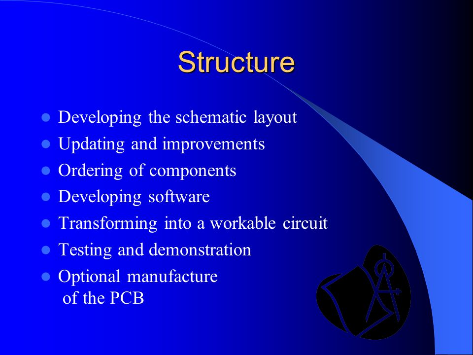 Structure Developing the schematic layout Updating and improvements Ordering of components Developing software Transforming into a workable circuit Te