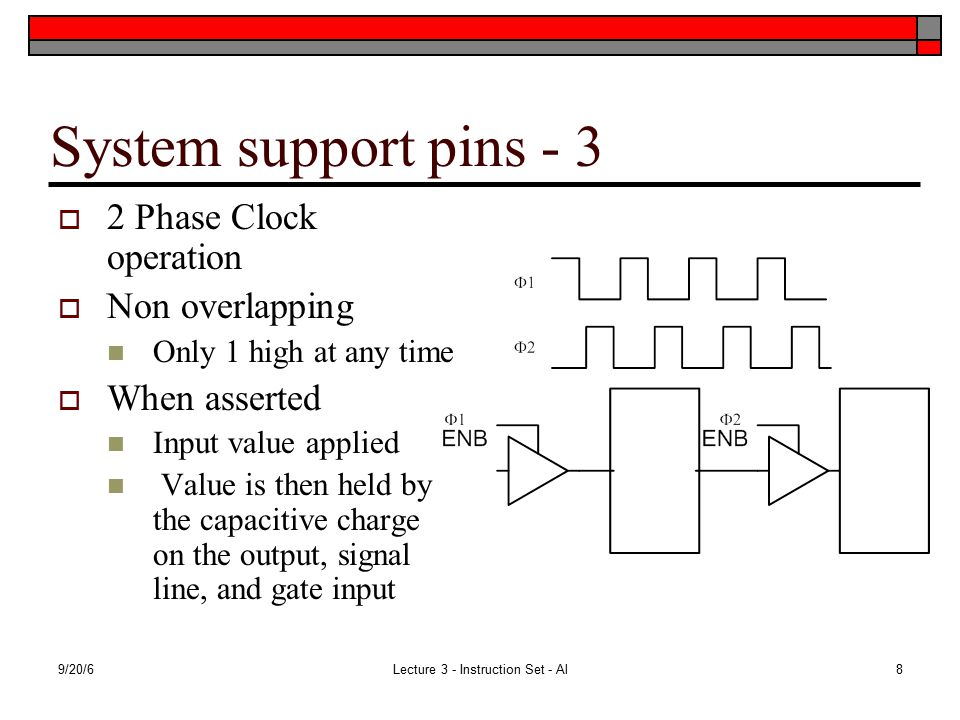 9/20/6Lecture 3 - Instruction Set - Al8 System support pins - 3  2 Phase Clock operation  Non overlapping Only 1 high at any time  When asserted Input value applied Value is then held by the capacitive charge on the output, signal line, and gate input