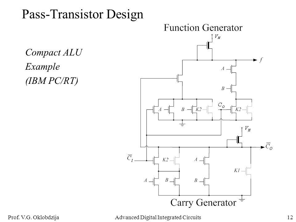 Prof. V.G. OklobdzijaAdvanced Digital Integrated Circuits12 Pass-Transistor Design Compact ALU Example (IBM PC/RT)