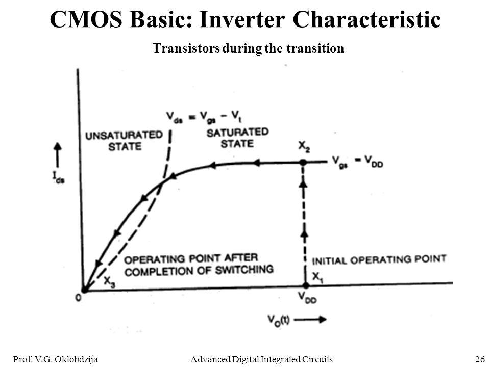 Prof. V.G. OklobdzijaAdvanced Digital Integrated Circuits26 CMOS Basic: Inverter Characteristic Transistors during the transition