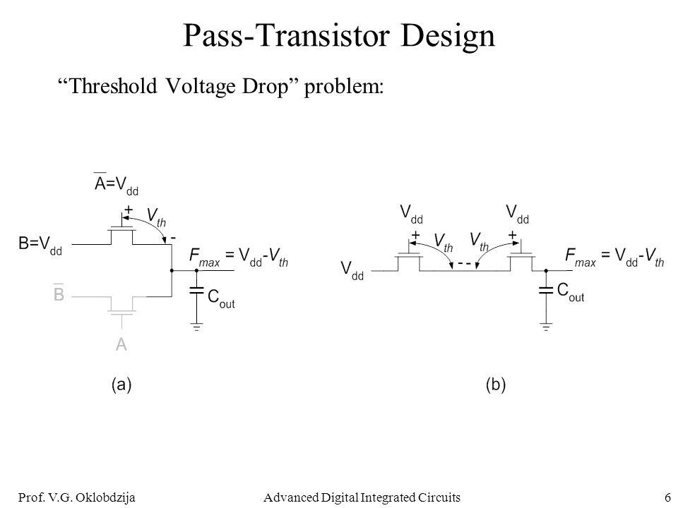 "Prof. V.G. OklobdzijaAdvanced Digital Integrated Circuits6 Pass-Transistor Design ""Threshold Voltage Drop"" problem:"