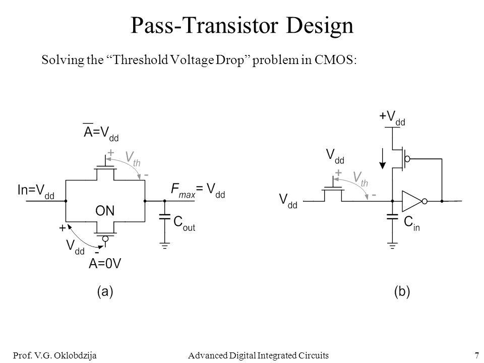 "Prof. V.G. OklobdzijaAdvanced Digital Integrated Circuits7 Pass-Transistor Design Solving the ""Threshold Voltage Drop"" problem in CMOS:"