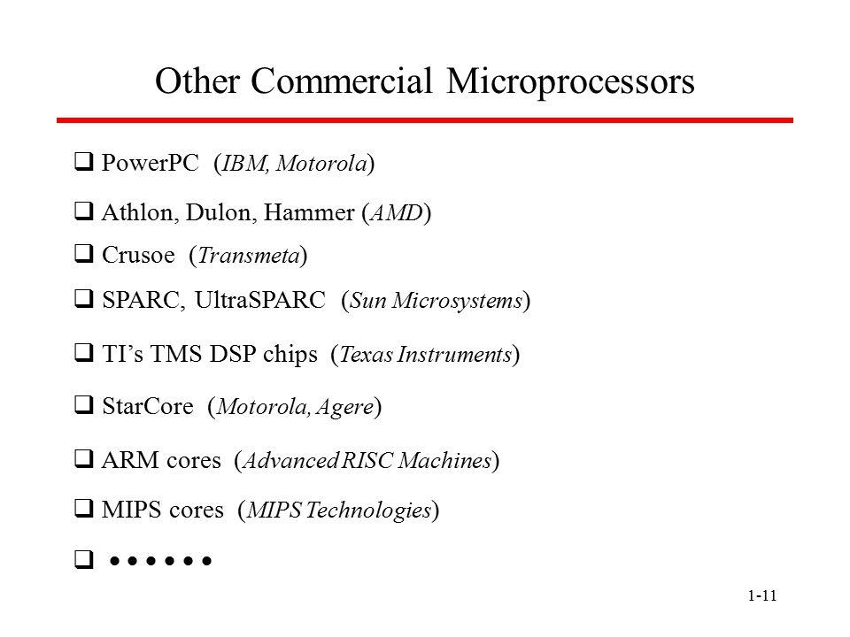 1-11 Other Commercial Microprocessors  PowerPC ( IBM, Motorola )  Athlon, Dulon, Hammer ( AMD )  Crusoe ( Transmeta )  SPARC, UltraSPARC ( Sun Mic