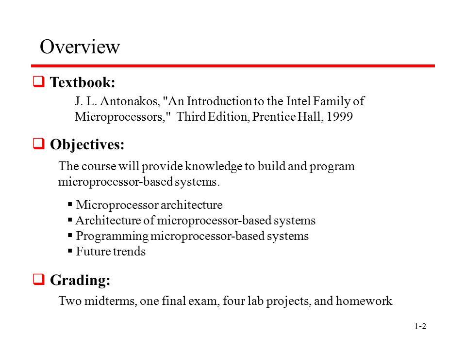 1-2 Overview  Textbook: J. L. Antonakos,