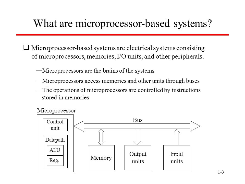 1-3 What are microprocessor-based systems?  Microprocessor-based systems are electrical systems consisting of microprocessors, memories, I/O units, a