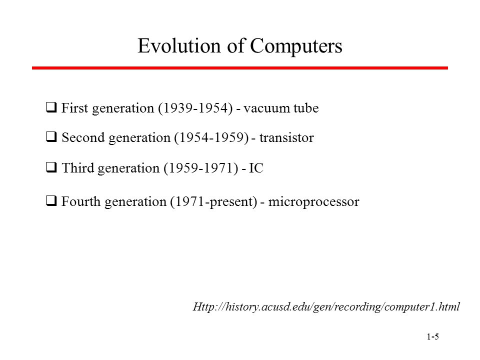 1-5 Evolution of Computers  First generation (1939-1954) - vacuum tube  Second generation (1954-1959) - transistor  Third generation (1959-1971) - IC  Fourth generation (1971-present) - microprocessor Http://history.acusd.edu/gen/recording/computer1.html