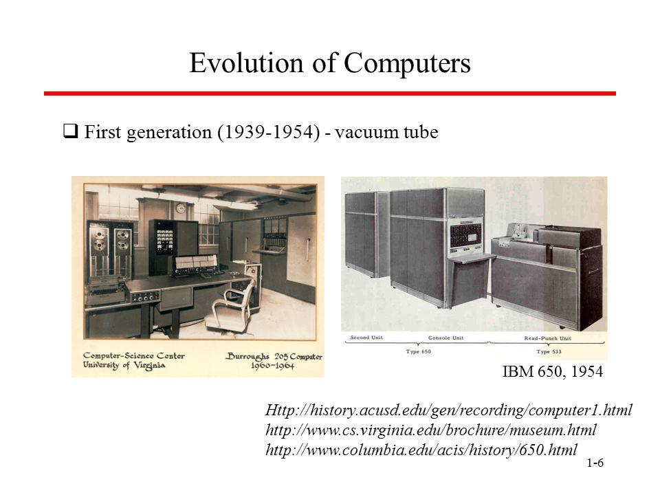 1-7 Evolution of Computers  Second generation (1954-1959) - transistor Http://history.acusd.edu/gen/recording/computer1.html http://www.computer50.org/kgill/transistor/trans.html Manchester University Experimental Transistor Computer