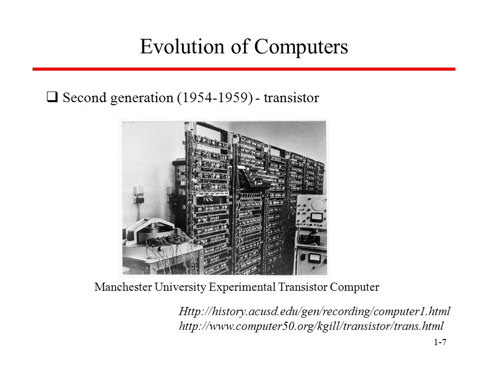 1-7 Evolution of Computers  Second generation (1954-1959) - transistor Http://history.acusd.edu/gen/recording/computer1.html http://www.computer50.or
