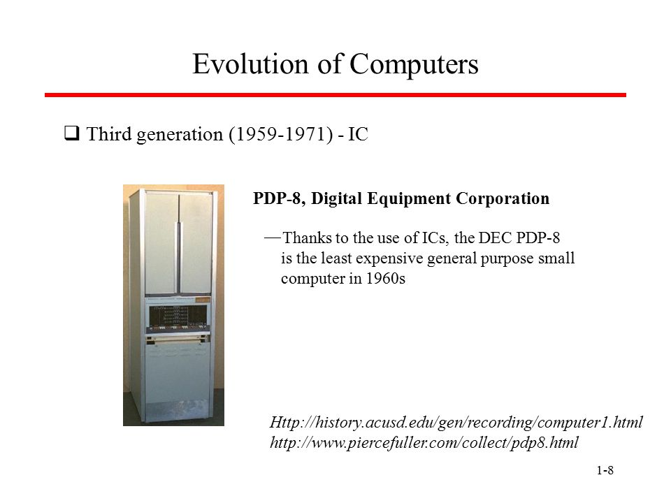 1-9 Evolution of Computers  Fourth generation (1971-present) - microprocessor  In 1971, Intel developed 4-bit 4004 chip for calculator applications.