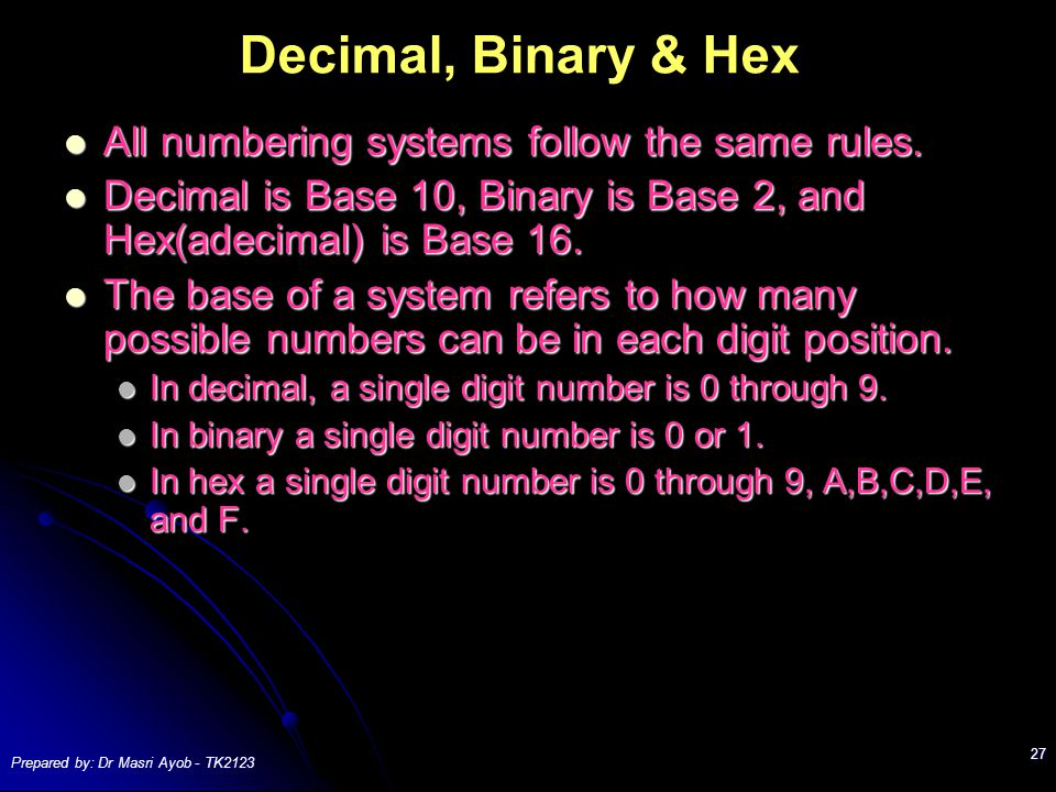 Prepared by: Dr Masri Ayob - TK2123 27 Decimal, Binary & Hex All numbering systems follow the same rules.