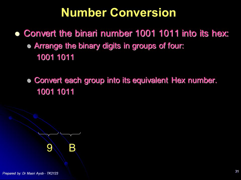 Prepared by: Dr Masri Ayob - TK2123 31 Number Conversion Convert the binari number 1001 1011 into its hex: Convert the binari number 1001 1011 into its hex: Arrange the binary digits in groups of four: Arrange the binary digits in groups of four: 1001 1011 1001 1011 Convert each group into its equivalent Hex number.