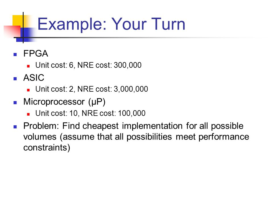 Example: Your Turn FPGA Unit cost: 6, NRE cost: 300,000 ASIC Unit cost: 2, NRE cost: 3,000,000 Microprocessor (µP) Unit cost: 10, NRE cost: 100,000 Problem: Find cheapest implementation for all possible volumes (assume that all possibilities meet performance constraints)