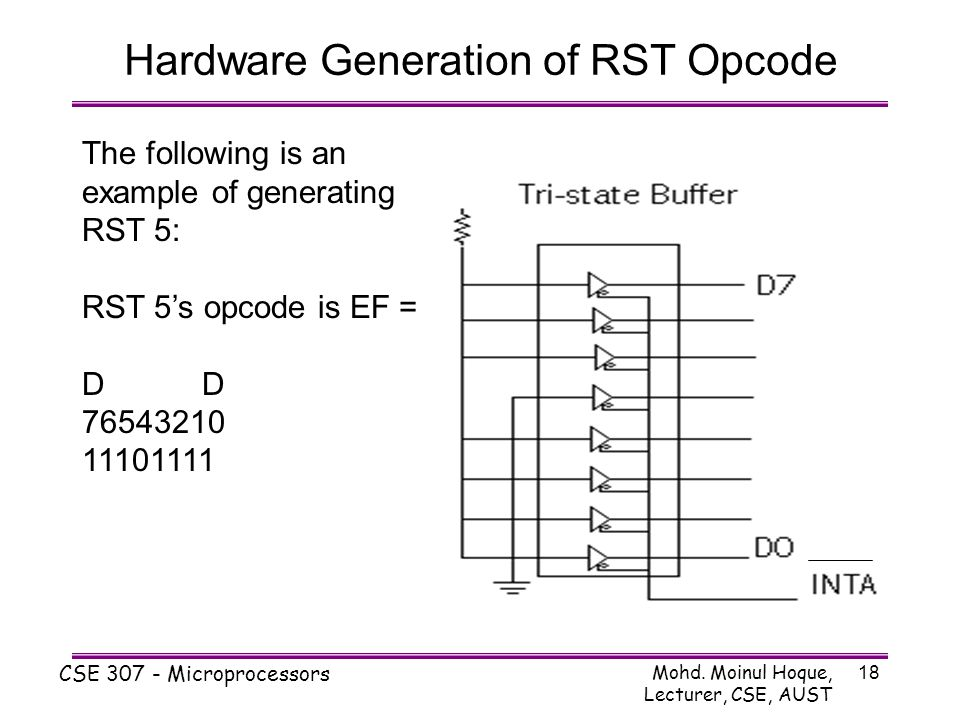 Mohd. Moinul Hoque, Lecturer, CSE, AUST CSE 307 - Microprocessors 18 The following is an example of generating RST 5: RST 5's opcode is EF = D 7654321