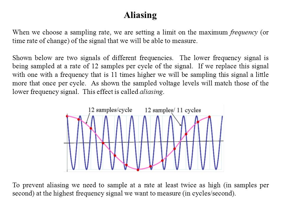 Aliasing When we choose a sampling rate, we are setting a limit on the maximum frequency (or time rate of change) of the signal that we will be able to measure.