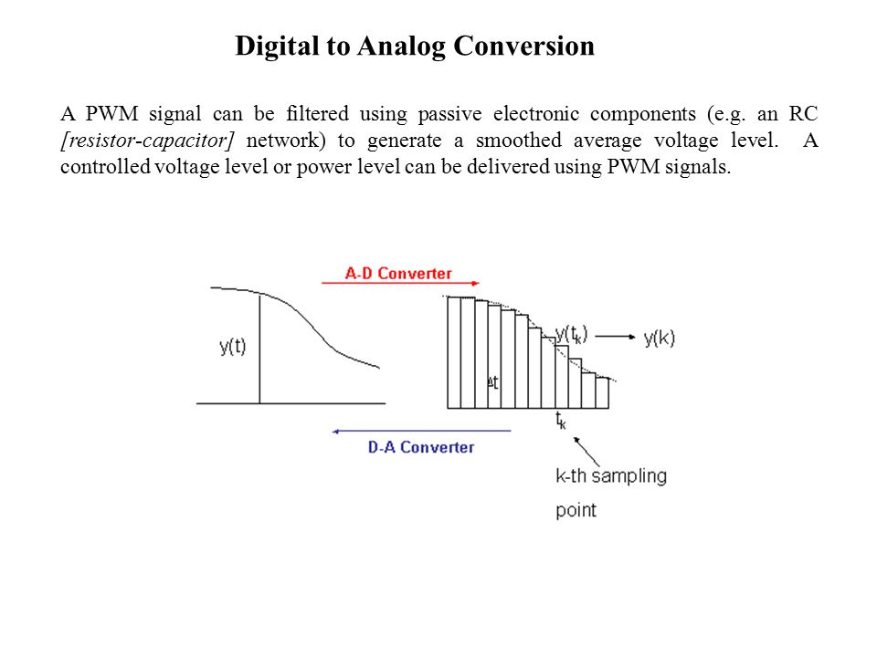 Digital to Analog Conversion A PWM signal can be filtered using passive electronic components (e.g.