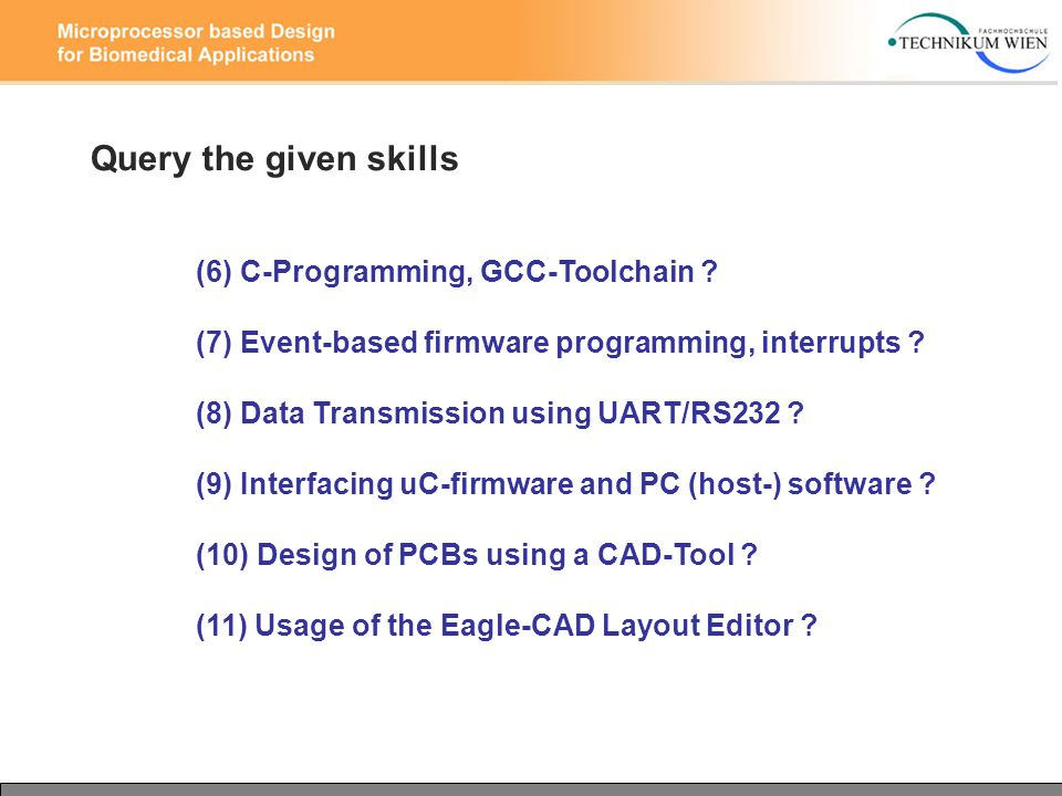 Query the given skills (6) C-Programming, GCC-Toolchain .