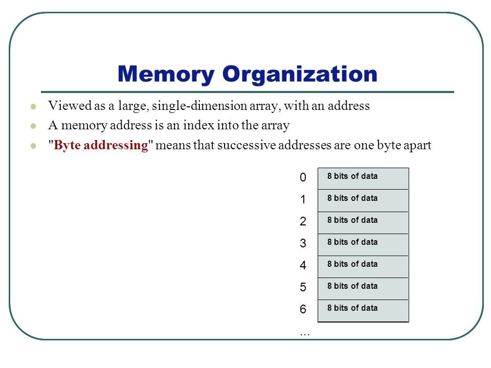 Memory Organization Viewed as a large, single-dimension array, with an address A memory address is an index into the array Byte addressing means that successive addresses are one byte apart 0 1 2 3 4 5 6...