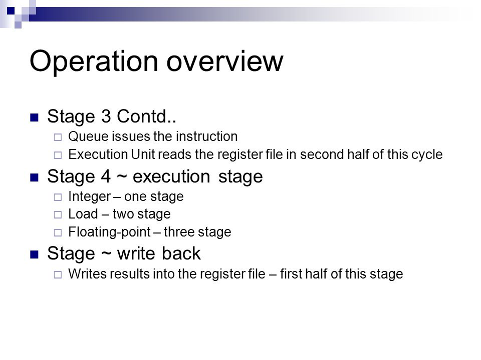 Operation overview Stage 3 Contd..