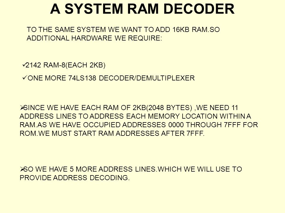 ADDRESS DECODER WORKSHEET A15 & A14-A12 A11-A8A7-A4A3-A0HEX EQUI.