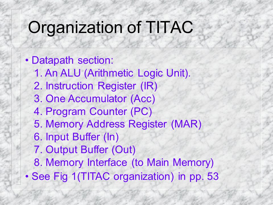 Organization of TITAC Datapath section: 1. An ALU (Arithmetic Logic Unit). 2. Instruction Register (IR) 3. One Accumulator (Acc) 4. Program Counter (P