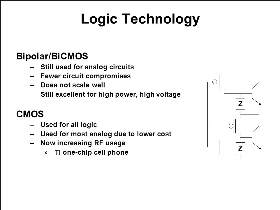 Logic Technology Bipolar/BiCMOS –Still used for analog circuits –Fewer circuit compromises –Does not scale well –Still excellent for high power, high