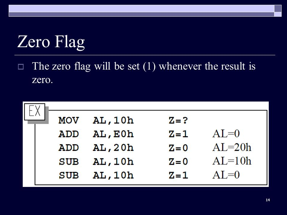 14 Zero Flag  The zero flag will be set (1) whenever the result is zero.