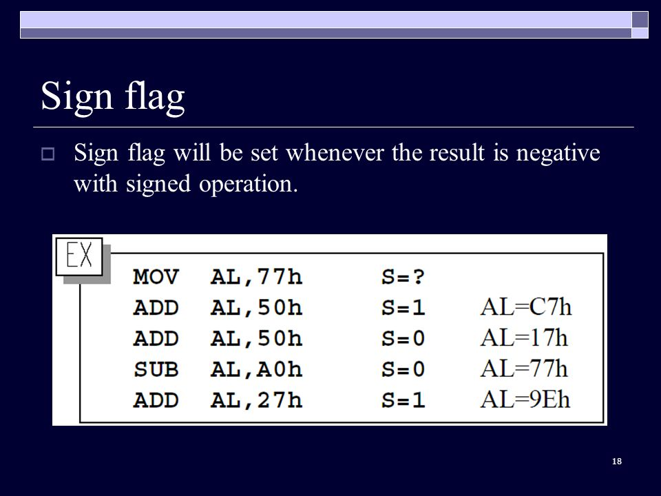 18 Sign flag  Sign flag will be set whenever the result is negative with signed operation.