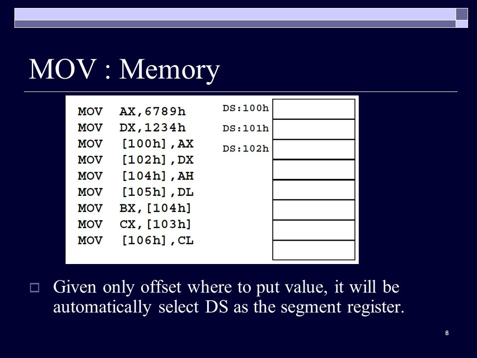 8 MOV : Memory  Given only offset where to put value, it will be automatically select DS as the segment register.