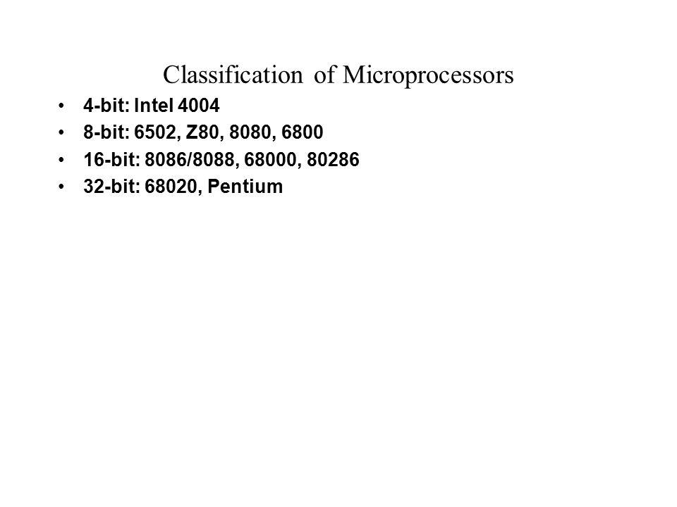 Classification of Microprocessors 4-bit: Intel 4004 8-bit: 6502, Z80, 8080, 6800 16-bit: 8086/8088, 68000, 80286 32-bit: 68020, Pentium