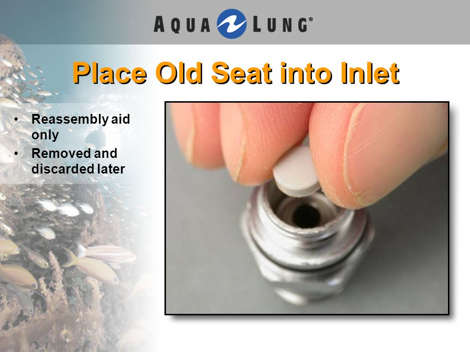 Place Old Seat into Inlet Reassembly aid only Removed and discarded later
