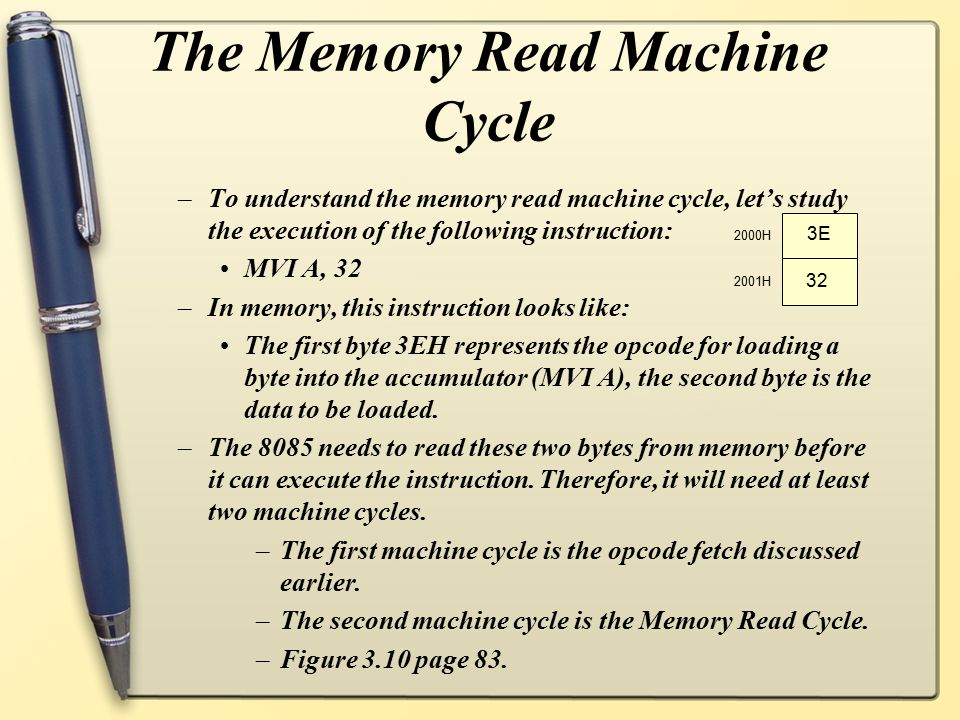 The Memory Read Machine Cycle –To understand the memory read machine cycle, let's study the execution of the following instruction: MVI A, 32 –In memo