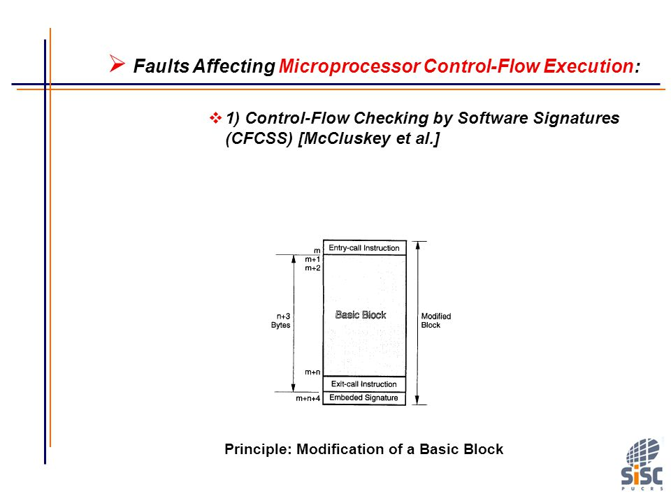vargas@computer.org Principle: Modification of a Basic Block  Faults Affecting Microprocessor Control-Flow Execution:  1) Control-Flow Checking by Software Signatures (CFCSS) [McCluskey et al.]