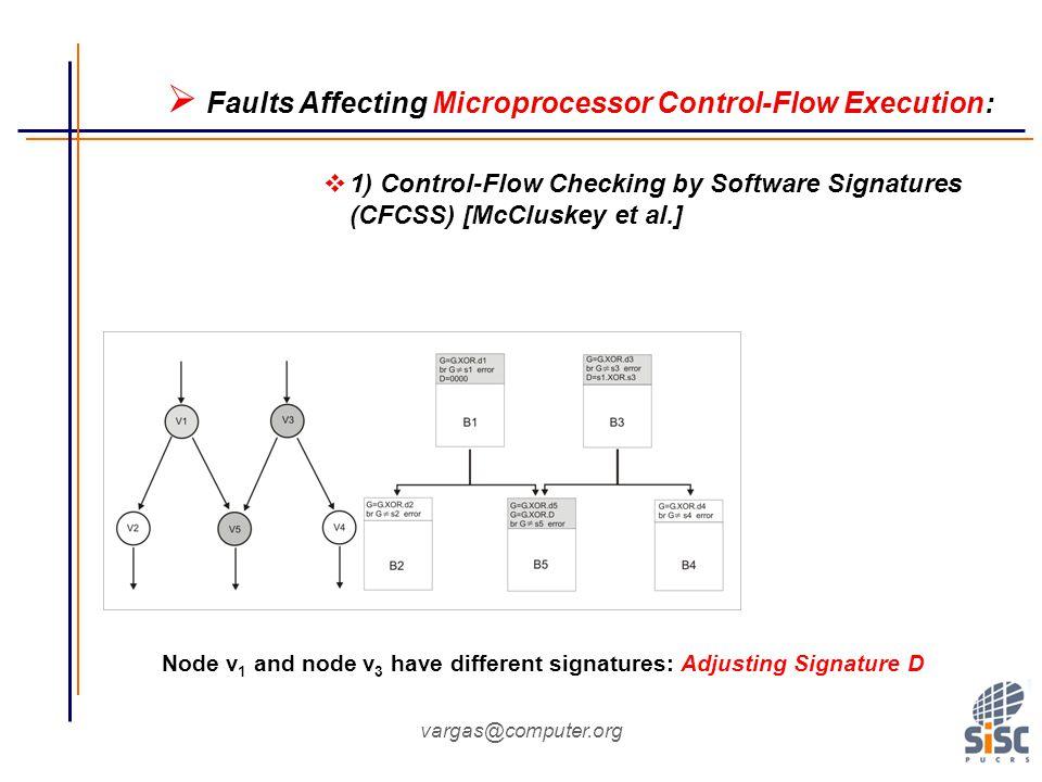 vargas@computer.org Node v 1 and node v 3 have different signatures: Adjusting Signature D  Faults Affecting Microprocessor Control-Flow Execution:  1) Control-Flow Checking by Software Signatures (CFCSS) [McCluskey et al.]