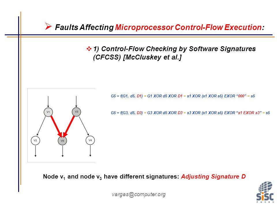 vargas@computer.org Node v 1 and node v 3 have different signatures: Adjusting Signature D G5 = f(G1, d5, D1) = G1 XOR d5 XOR D1 = s1 XOR (s1 XOR s5) EXOR 000 = s5 G5 = f(G3, d5, D3) = G3 XOR d5 XOR D3 = s3 XOR (s1 XOR s5) EXOR s1 EXOR s3 = s5  Faults Affecting Microprocessor Control-Flow Execution:  1) Control-Flow Checking by Software Signatures (CFCSS) [McCluskey et al.]