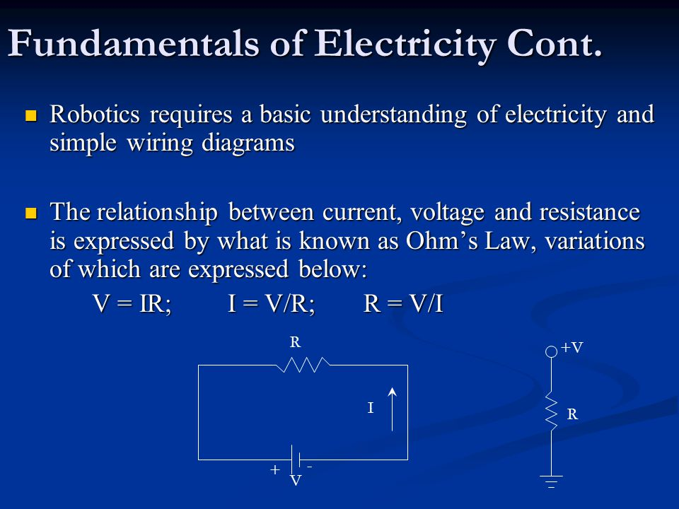 Fundamentals of Electricity Cont. Robotics requires a basic understanding of electricity and simple wiring diagrams Robotics requires a basic understa