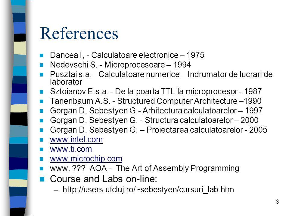 3 References Dancea I, - Calculatoare electronice – 1975 Nedevschi S.