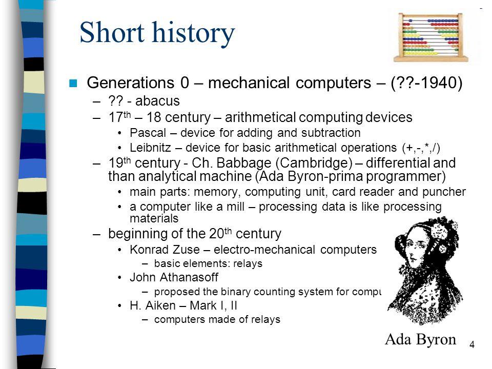 4 Short history Generations 0 – mechanical computers – ( -1940) – .