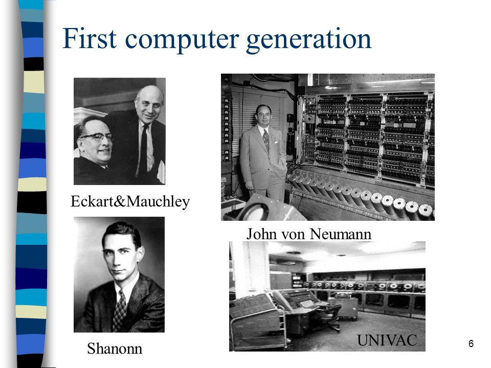 6 First computer generation Eckart&Mauchley John von Neumann UNIVAC Shanonn