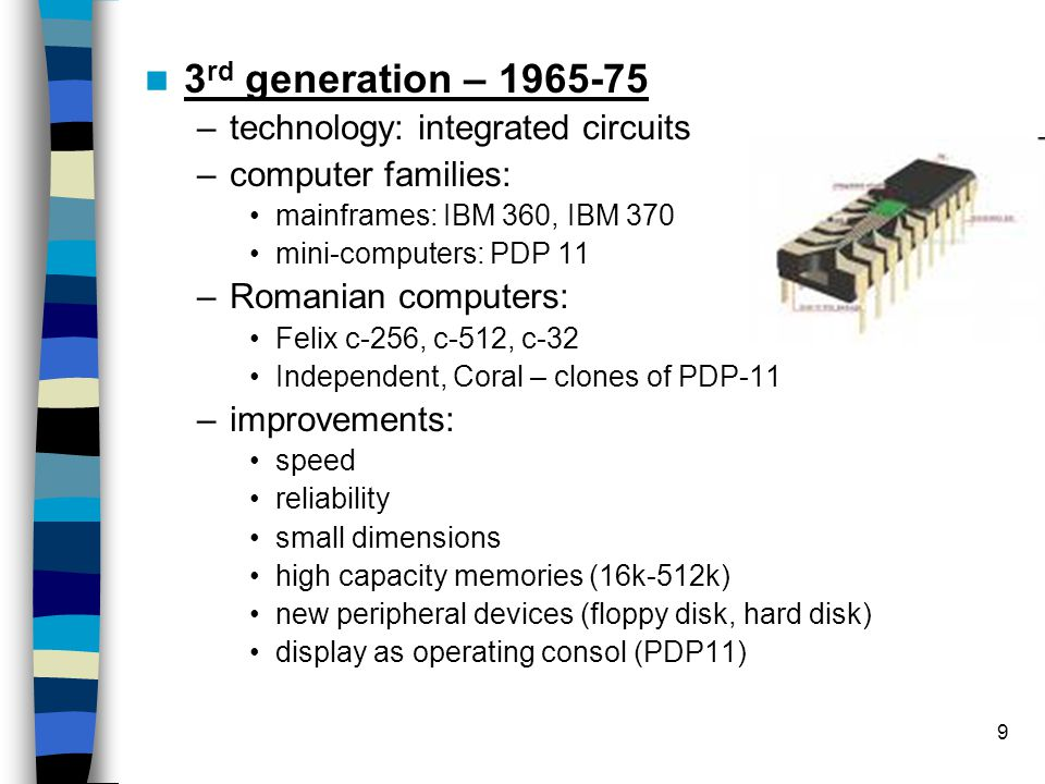 20 Computer s performance parameters Clock frequency, –Higher clock frequency = higher performance –Doubled every 24 month, until 2005 –Limited by the power consumption and disipation –Today – 2-3GHz Number of Cycles Per Second – CPI –Number if clock cycles for executing an instruction –Older computers: 5-120 cycles –New processors: 1, 0.5, 0.25 CPI Number of instructions per second –MIPS, FLOPS – million of instructions per second