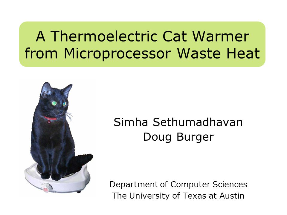 A Thermoelectric Cat Warmer from Microprocessor Waste Heat Simha Sethumadhavan Doug Burger Department of Computer Sciences The University of Texas at