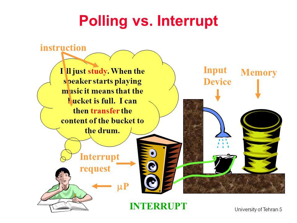 University of Tehran 6 Interrupt Some terms to remember: –Interrupt service routine –Interrupt vectors –Interrupt vector number –Interrupt vector table