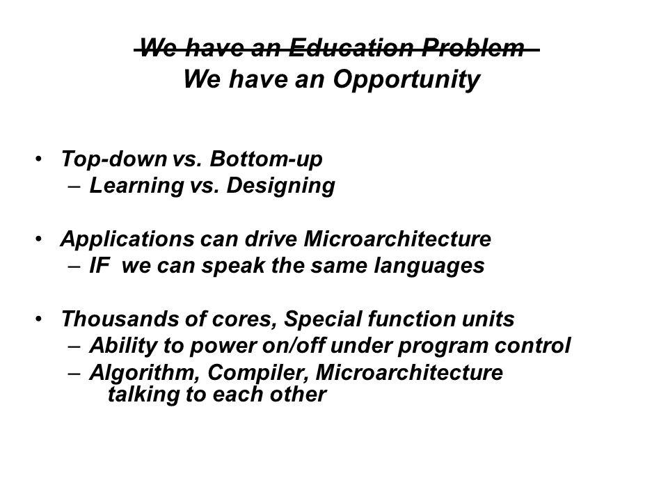 Top-down vs. Bottom-up –Learning vs.