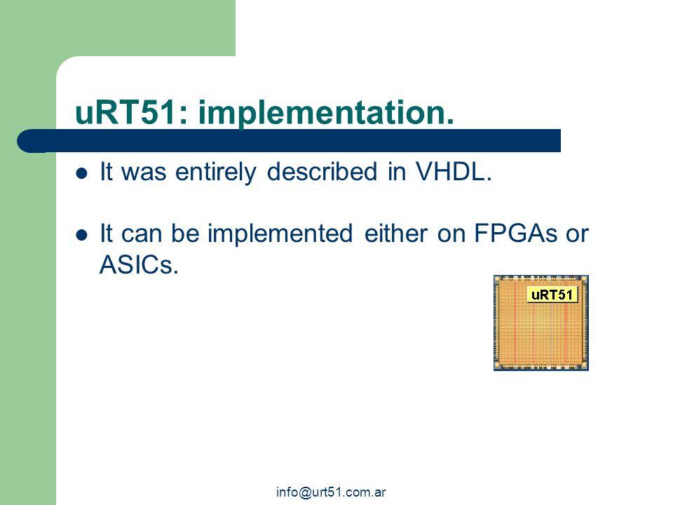 info@urt51.com.ar uRT51 main features.