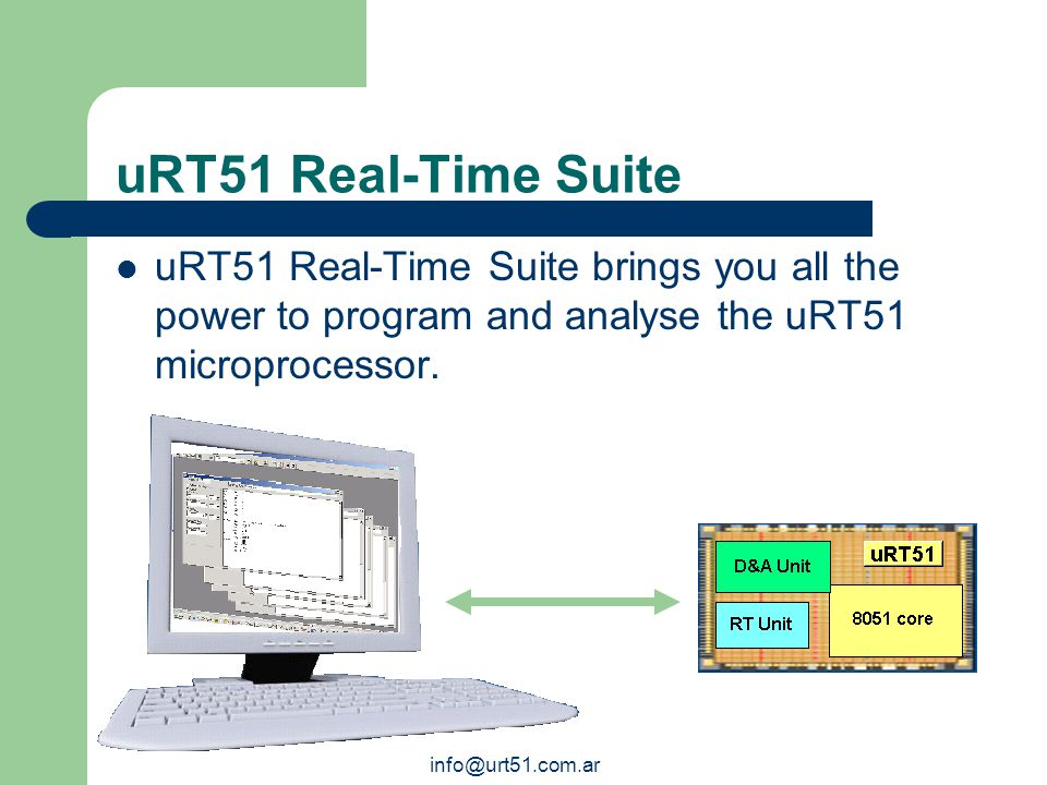 info@urt51.com.ar uRT51: Applications The uRT51's flexibility improves a wide range of applications where Real-Time is applied. uRT51 is suitable for
